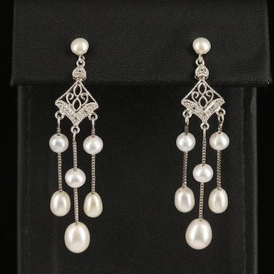 Sterling Pearl and Topaz Drop Earrings