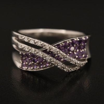 10K Diamond and Amethyst Crossover Ring
