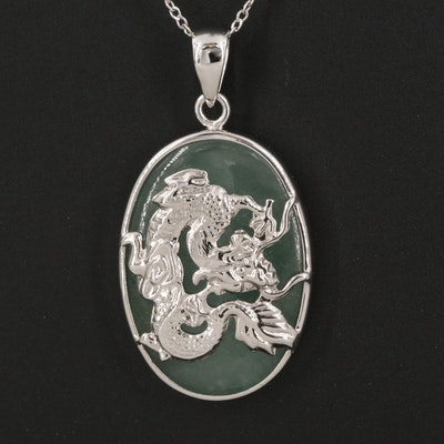 Sterling Silver Jadeite Dragon Pendant Necklace