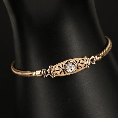 Vintage Gold-Filled Diamond Bracelet