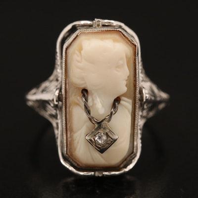 Vintage 14K and 10K Black Onyx, Shell and Diamond Flip Ring Including Habillé