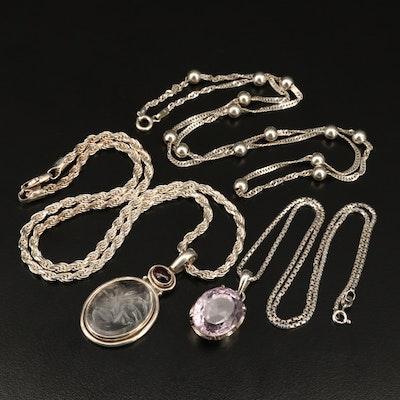 Sterling Necklaces Including Amethyst, Rock Crystal Quartz and Garnet