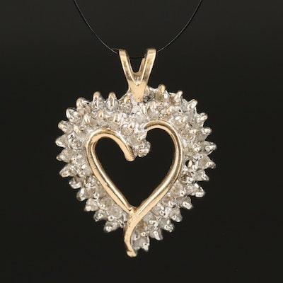 10K 0.94 CTW Diamond Heart Pendant