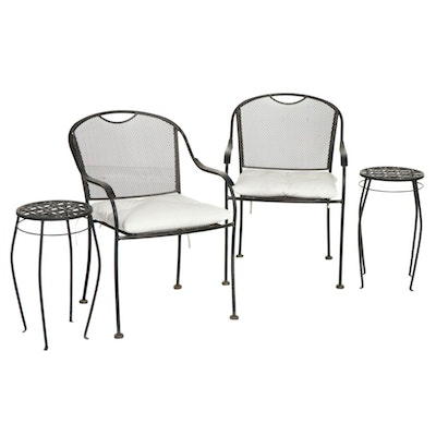 Metal Mesh Patio Armchairs with Accent Tables