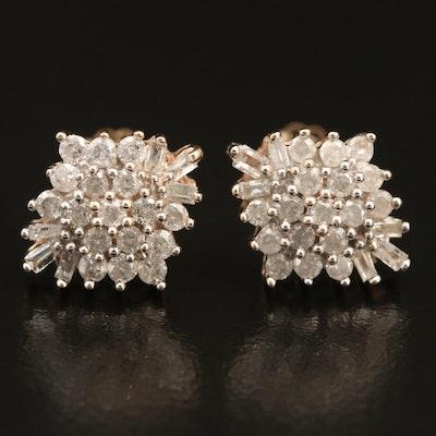 10K 1.13 CTW Diamond Cluster Earrings