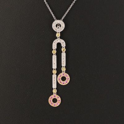 14K 0.32 CTW Diamond and Sapphire Négligée Enhancer Pendant Necklace