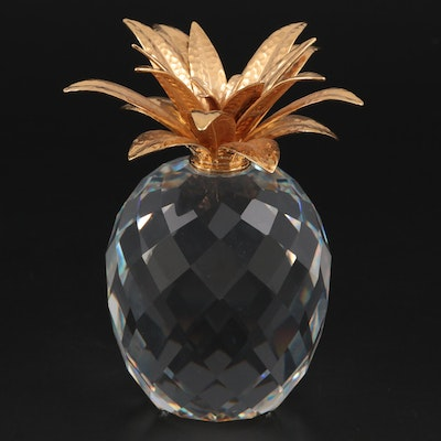 """Swarovski """"Sparkling Fruit"""" Crystal Pineapple with Gold Leaves, Late 20th C."""