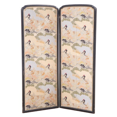 Chinese Black-Lacquered and Machine-Embroidered Two-Panel Screen