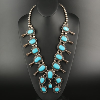 Southwestern Sterling Squash Blossom with Naja Pendant Necklace