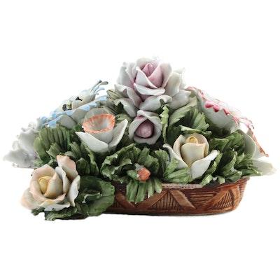 D. Bonalberti Capodimonte Porcelain Flower Vase Figure, Mid-20th Century