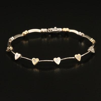 14K Two-Tone Gold 0.21 CTW Diamond Heart Station Bracelet