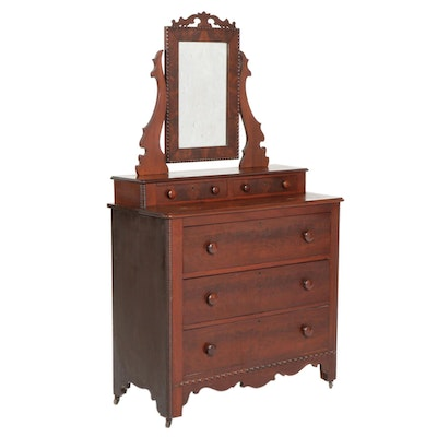 Walnut and Mahogany Dresser and Mirror, Late 19th to Early 20th Century