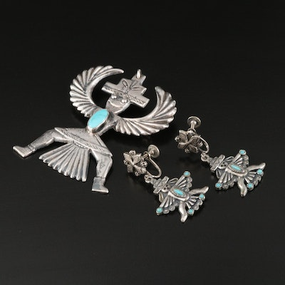 Sterling and Turquoise Kachina Thunderbird Converter Brooch with Earrings