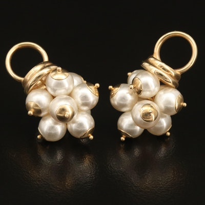 14K Imitation Pearl Hoop Earring Jackets