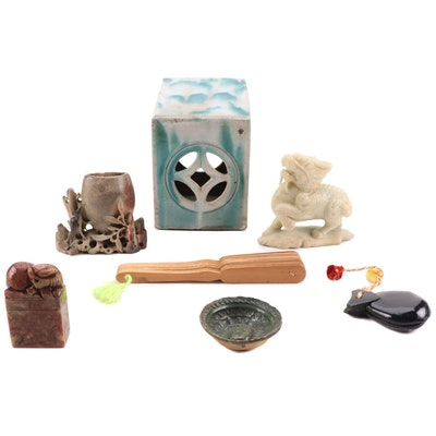 Carved Soapstone Guardian Lions and Brush Pot with Opium Pillow and Other Decor