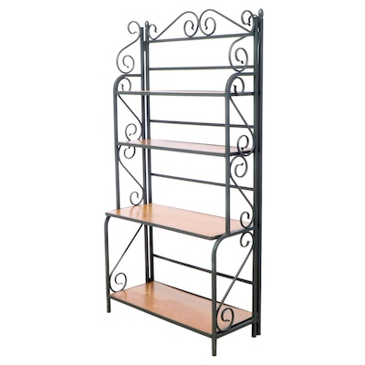 French Style Green-Painted Metal and Pine Folding Baker's Rack