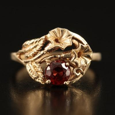 10K Garnet Trumpet Flower Ring