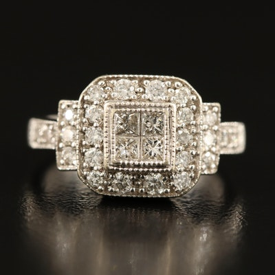 14K 0.76 CTW Diamond Halo Ring