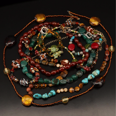 Beaded Necklaces and Bracelets Featuring Agate, Tiger's Eye and Sterling