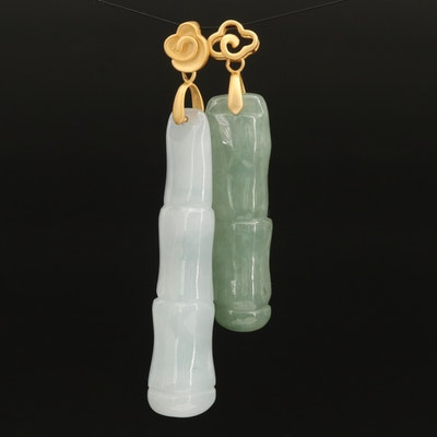 Sterling Carved Jadeite Bamboo Pendants