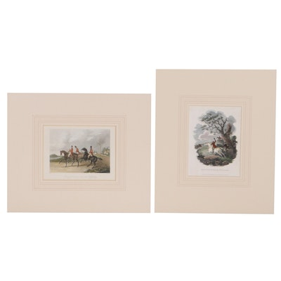 Hand-Colored Engravings of Hunting Scenes, 19th Century