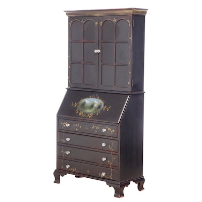 Chippendale Style Paint-Decorated Secretary, Mid to Late 20th Century