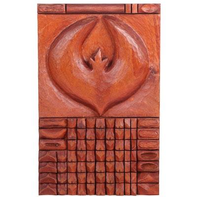 "Todd Celmar Carved Mahogany Wood Hanging Sculpture ""Firebird,"" 2018"