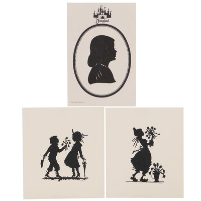 Silhouette Portrait Paper Cut Outs, Late 20th Century