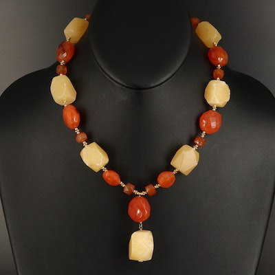 Carnelian and Calcite Beaded Necklace with 14K Clasp