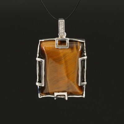 Sterling Silver Tiger's Eye and Topaz Pendant