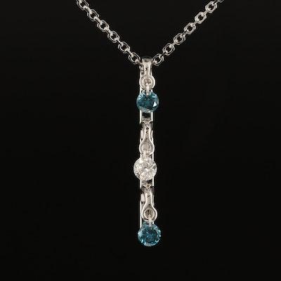 14K 0.19 CTW Diamond Drop Pendant Necklace