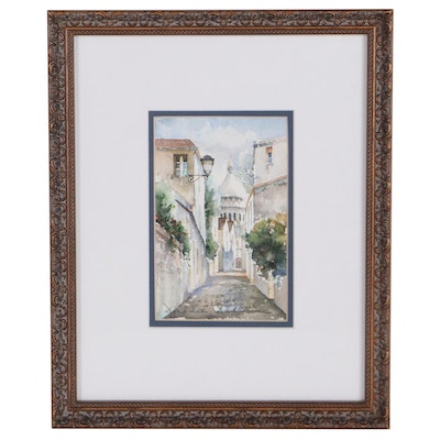 Dorothee Dabrou Watercolor Painting of City Street, Late 20th Century