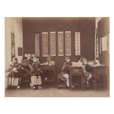 Hand-Colored Silver Gelatin Photograph of Boys School, Early 20th Century