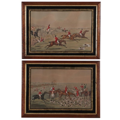 Hand-Colored Lithograph of Hunting Scenes, Early 20th Century