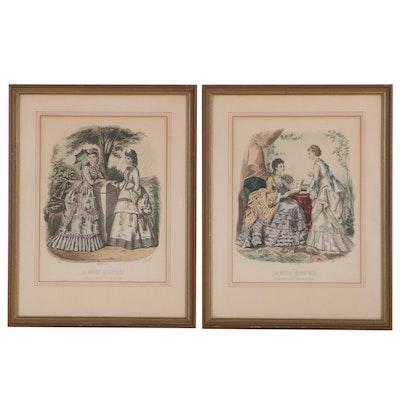 "Hand-Colored Lithographs From ""La Mode Illustrée,"" 1880"