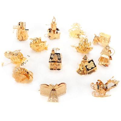 Danbury Mint Gold Tone Metal Ornaments