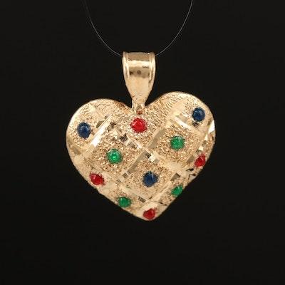 14K Enamel Heart Pendant