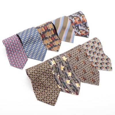 Men's Neckties in Printed Silk by Hermès, Ermenegildo Zegna and Gucci