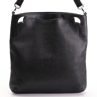 Cartier Marcello de Cartier Double Handle Messenger Bag in Black Leather