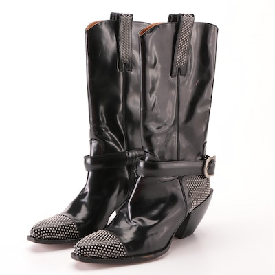Donald J Pliner Western Couture Collection Boots in Studded Patent Leather