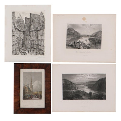 Cityscape and Landscape Etchings, Early-Mid 20th Century