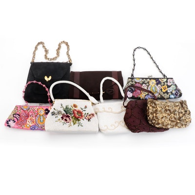 Embellished Small Handbags and Clutches with Suede Shoulder Bag and Clutch