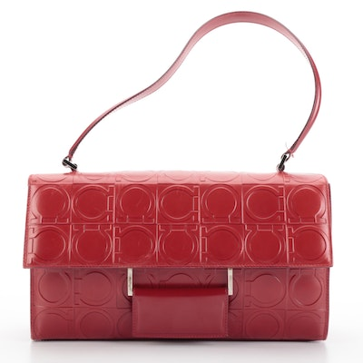 Salvatore Ferragamo Shoulder Bag in Red Gancini-Embossed and Smooth Leather