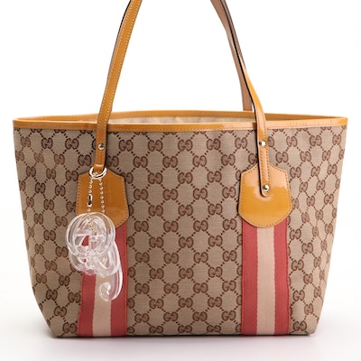 Gucci Shoulder Tote Bag in GG Canvas and Patent Leather with Translucent Charms