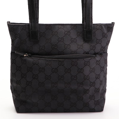 Gucci Small Shoulder Tote Bag in Black GG Canvas and Leather