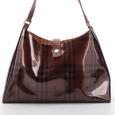 """Burberry Shoulder Bag in Brown """"Haymarket Check"""" PVC and Brown Leather"""