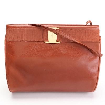 Salvatore Ferragamo Vara Hinge-Top Shoulder Bag in Cognac Brown Leather