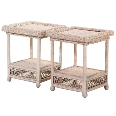 Pair of Wicker Patio Side Tables