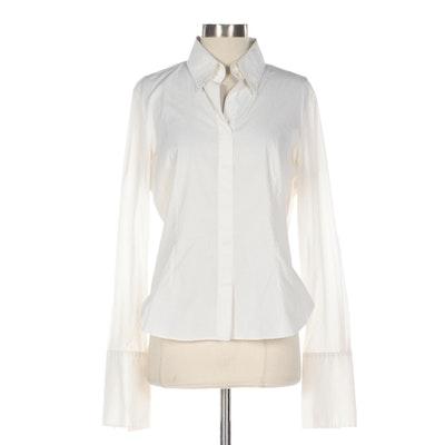 Giorgio Armani Collezioni White Cotton Long Sleeve Shirt with French Cuffs