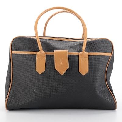 Yves Saint Laurent Coated Canvas Weekend Duffel Bag with Tan Trim